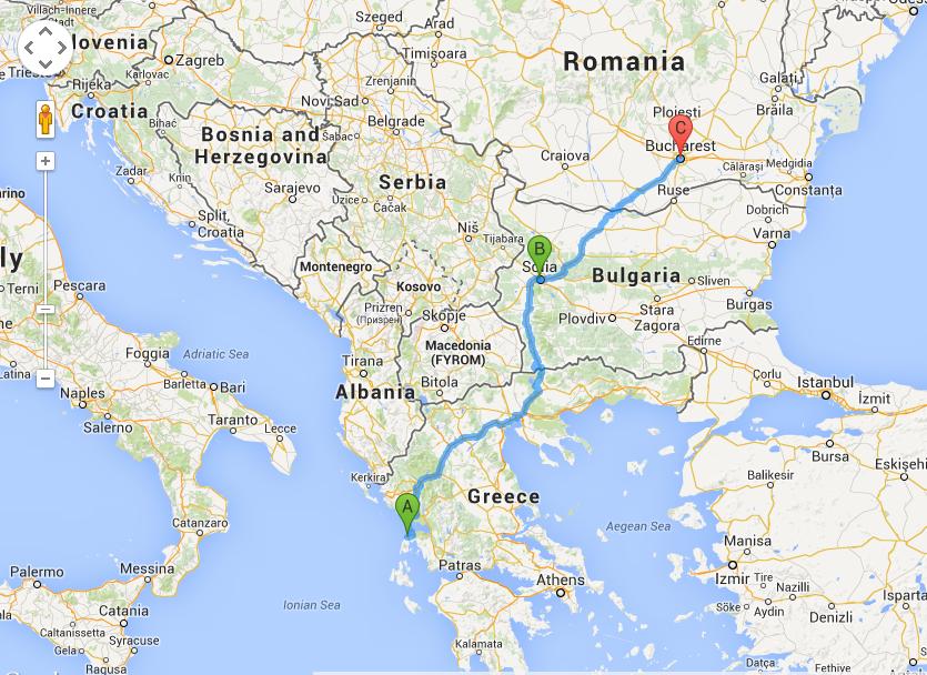 Harta drum Bucuresti - Lefkada