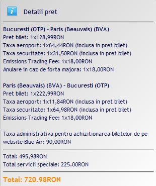 pret bilete avion paris