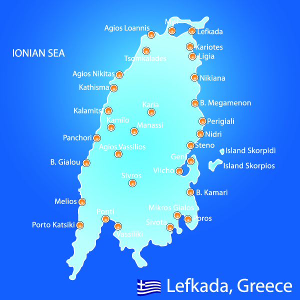 Island of Lefkada in Greece map