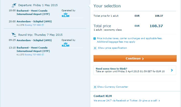 oferta Amsterdam KLM aniversare